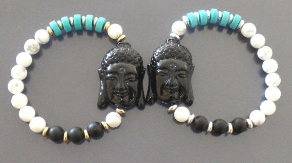 Black buddha bracelet Beaded Buddha bracelet by EmpathyGifts