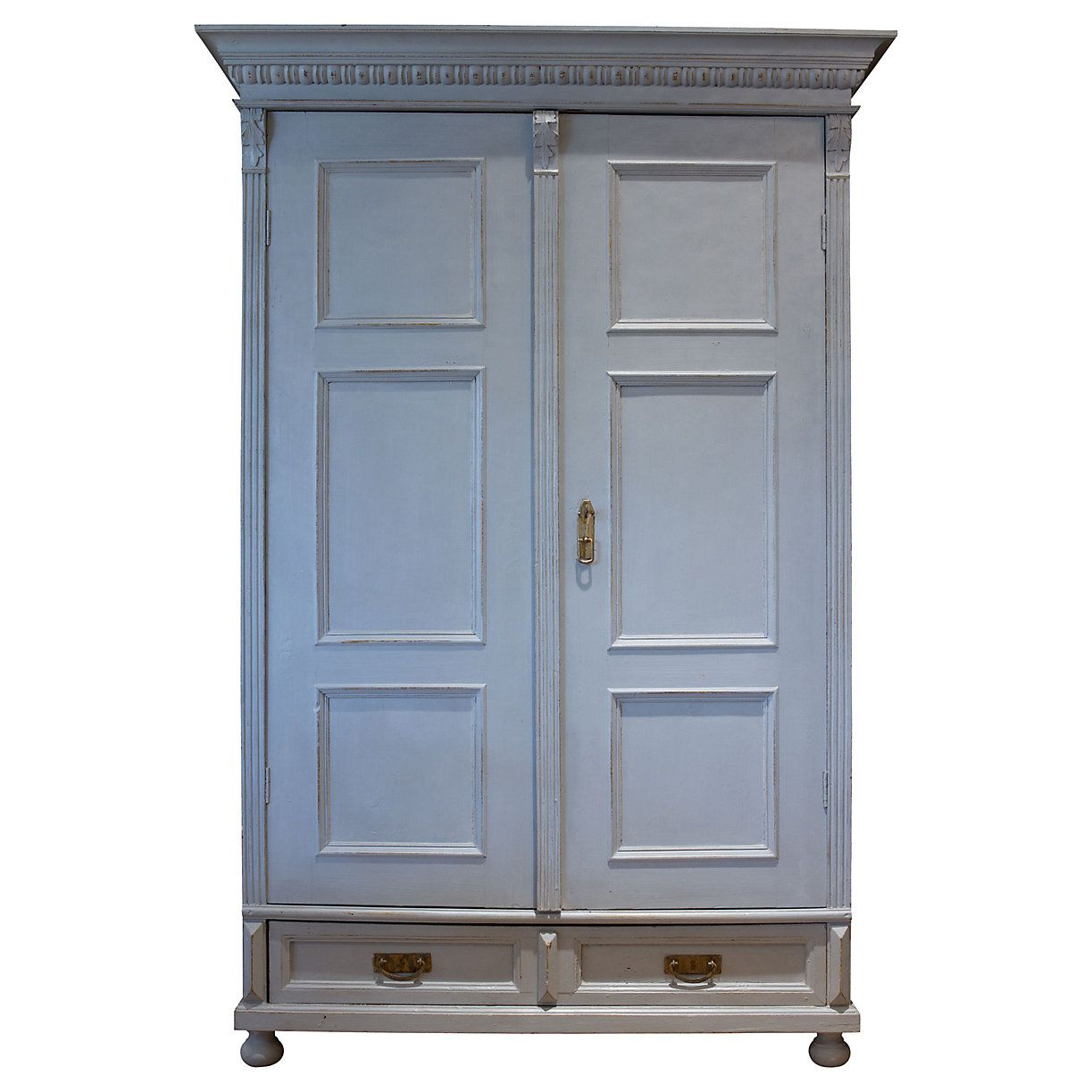 Once used to store clothes in an english country home this 19th century armoire is made of pine painted in a cool gray wooden doors open to ample storage