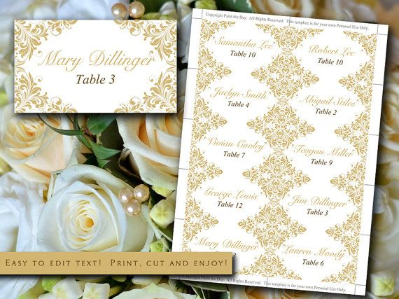 "DIY Wedding Place Cards Template | Flourish Gold ""Maggie"" Escort Card | Wedding Table Card | Beach Wedding Escort Cards by PaintTheDayDesigns"