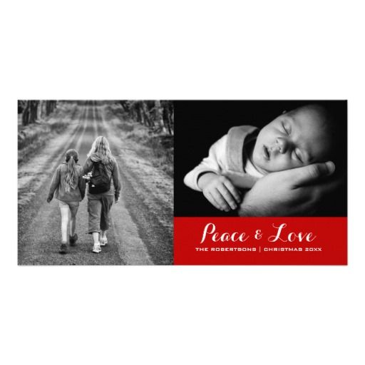 Peace & Love - Christmas Wishes Photo -Festive Red Customized Photo Card