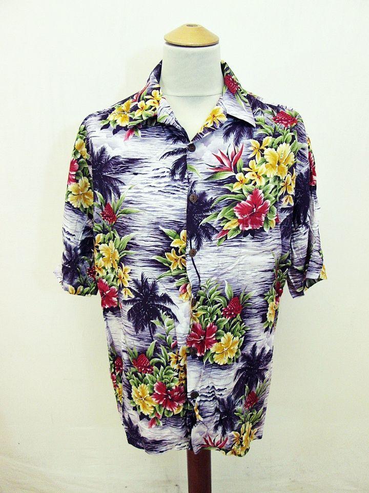 5cc3cde6 Vintage Hawaiian Tropical Beach Flowers Pattern Shirt Large ...