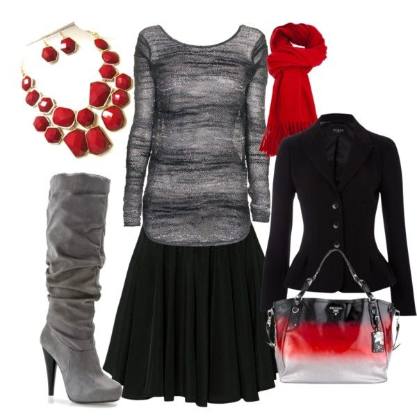 """Black, Gray and Red"" by hb0333821 on Polyvore"