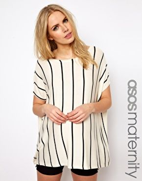 Image 1 of ASOS Maternity T-Shirt With Vertical Stripe