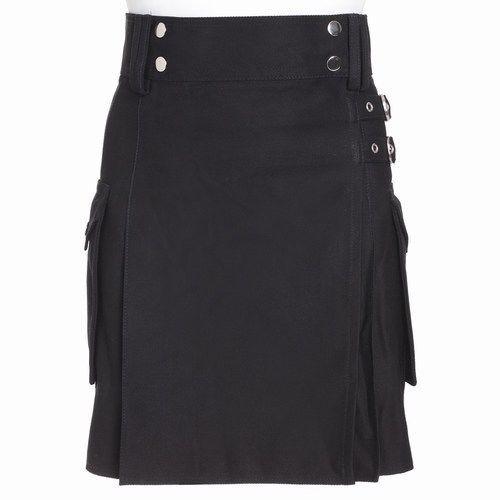 Ladies Black Utility Scottish Kilt Skirt Cotton BNWT Free Ladies Kilt Pin #TheScotlandKiltCompany