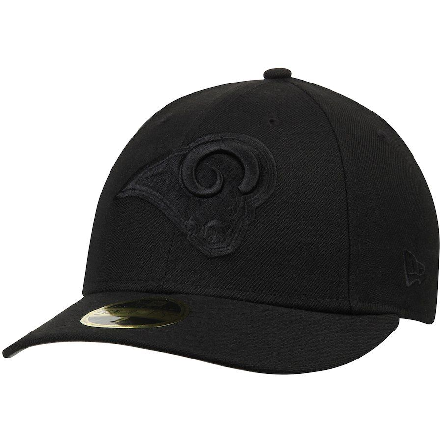 0b1ab707c8b96 Men s Los Angeles Rams New Era Black on Black Low Profile 59FIFTY Fitted Hat