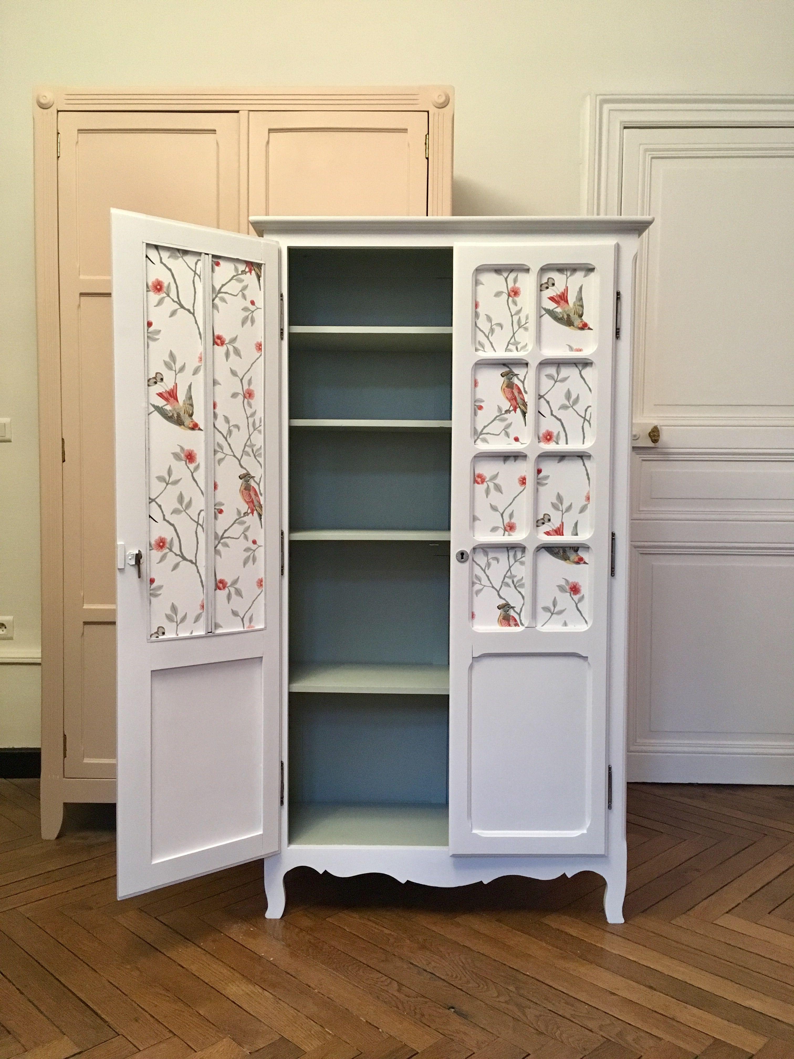 Armoire Ancienne Blanche Papier Peint Oiseaux Meubles Vintage Nantes Armoire Chambre Miroir Vintage Relooking Meuble