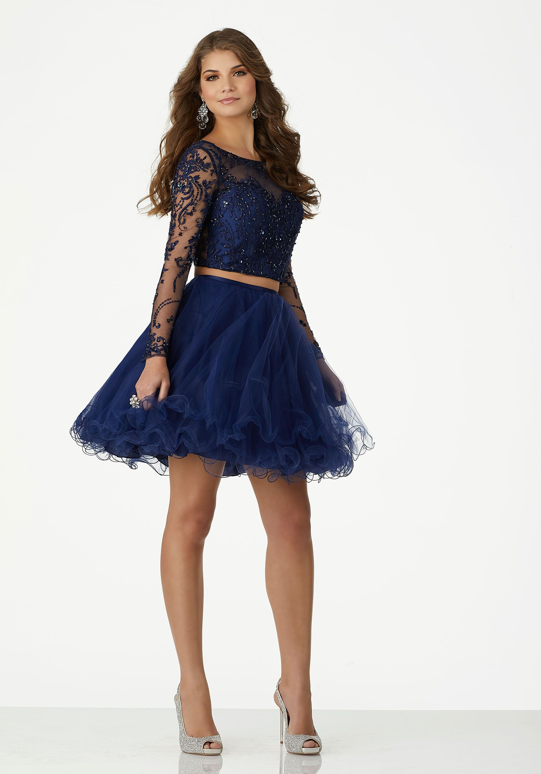 Two piece homecoming dress with long sleeves and floral embroidered
