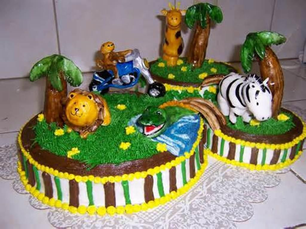Jungle Animal Baby Shower Cake Fondant Safari Baby Shower Cakes