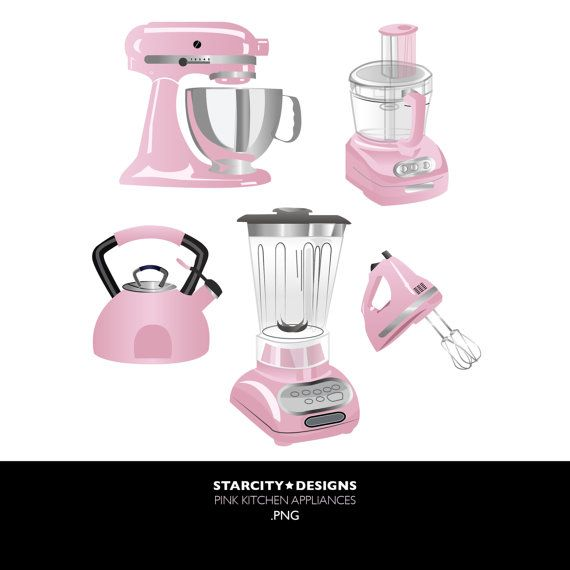 Pink Kitchen Appliances Clip Art Clipart Vector By Starcitydesigns 4 00 Pink Kitchen Appliances Pink Kitchen Kitchen Appliances