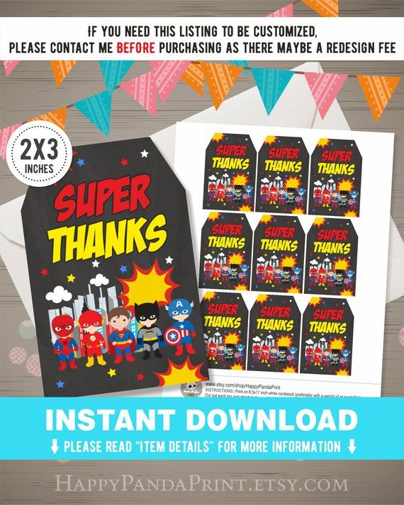 Superhero Thank You Tags INSTANT DOWNLOAD, Superhero Favor Tags, Superhero Tags, Boys Superhero Gift #superherogifts