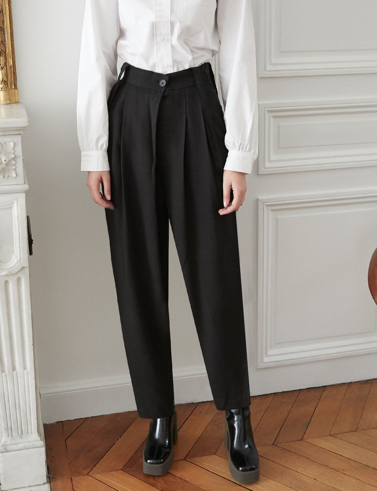 Tencel Black Suspender Pants In 2021 High Waisted Trousers Cozy Dress Outfit Fashion Pants [ 1563 x 1200 Pixel ]