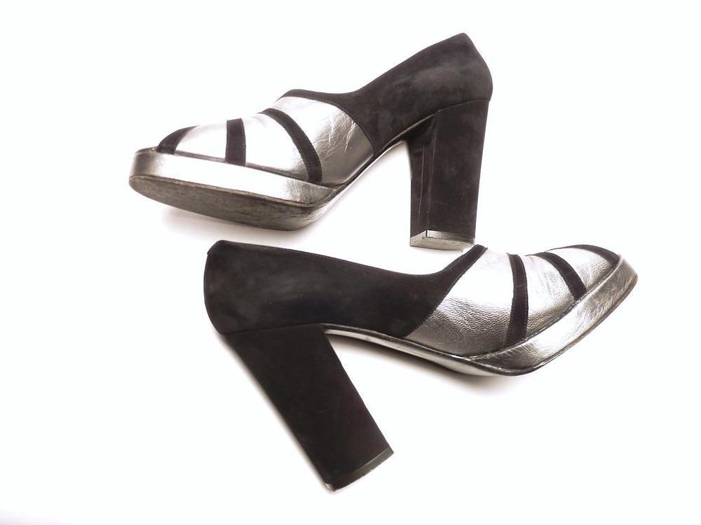 Margaret JERROLD MOD DECO Vtg 60s 70s 7.5 8 PLATFORM Metallic Silver Suede SHOES #Jerrold #Heels