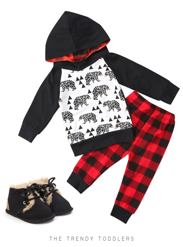 40c2e7d1 Black Bear Hoodie Set | The Trendy Toddlers collection | Baby boy ...