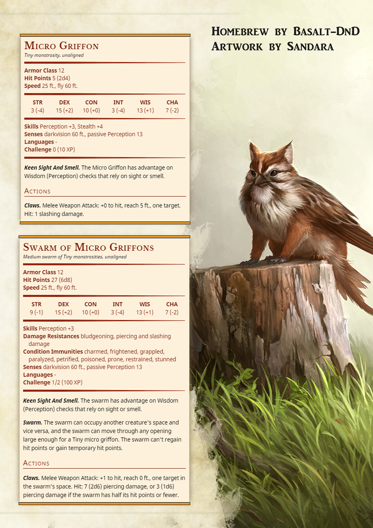 The Grinning Wyrm D&D — Tiny griffons for all of your animal