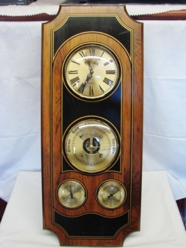 28 Wood Bulova Clock Weather Station Barometer Thermometer Hygrometer England Ebay