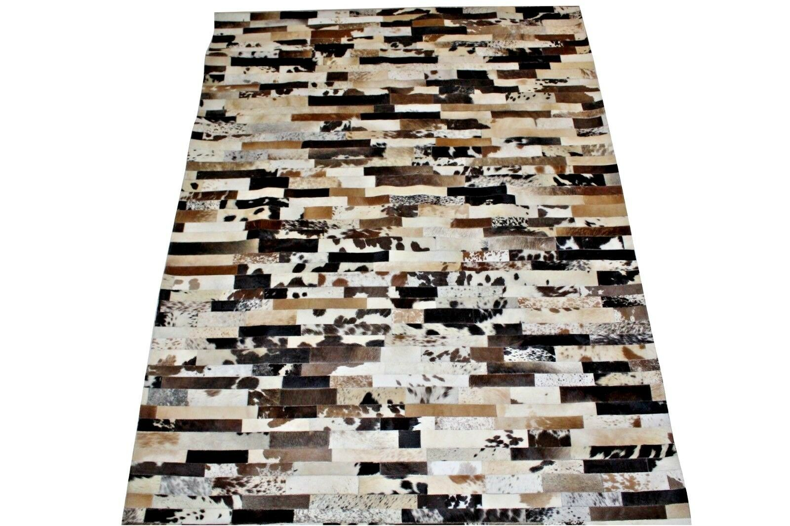 Details About Genuine Cowhide Patchwork Rug Tricolor 5x8 Ft