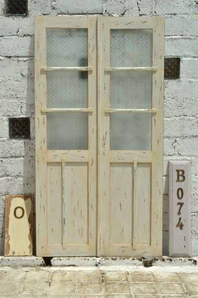 Door B074 W107×H200観音開きの古いドア2枚組アンティーク建具扉 インテリア 雑貨 家具 Antique ¥42000yen 〆08月14日