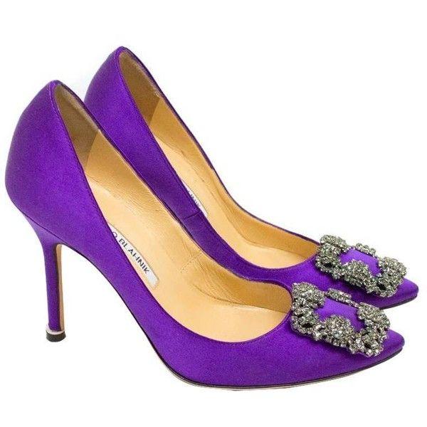 Manolo Blahnik Purple Hanisi 105 Satin Pumps 545 Liked On