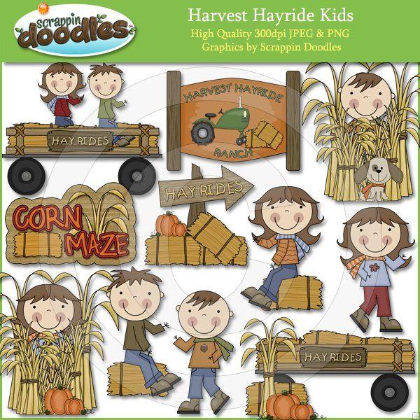 Harvest Hayride Kids Kids Clipart Downloadable Art Kids Doodles