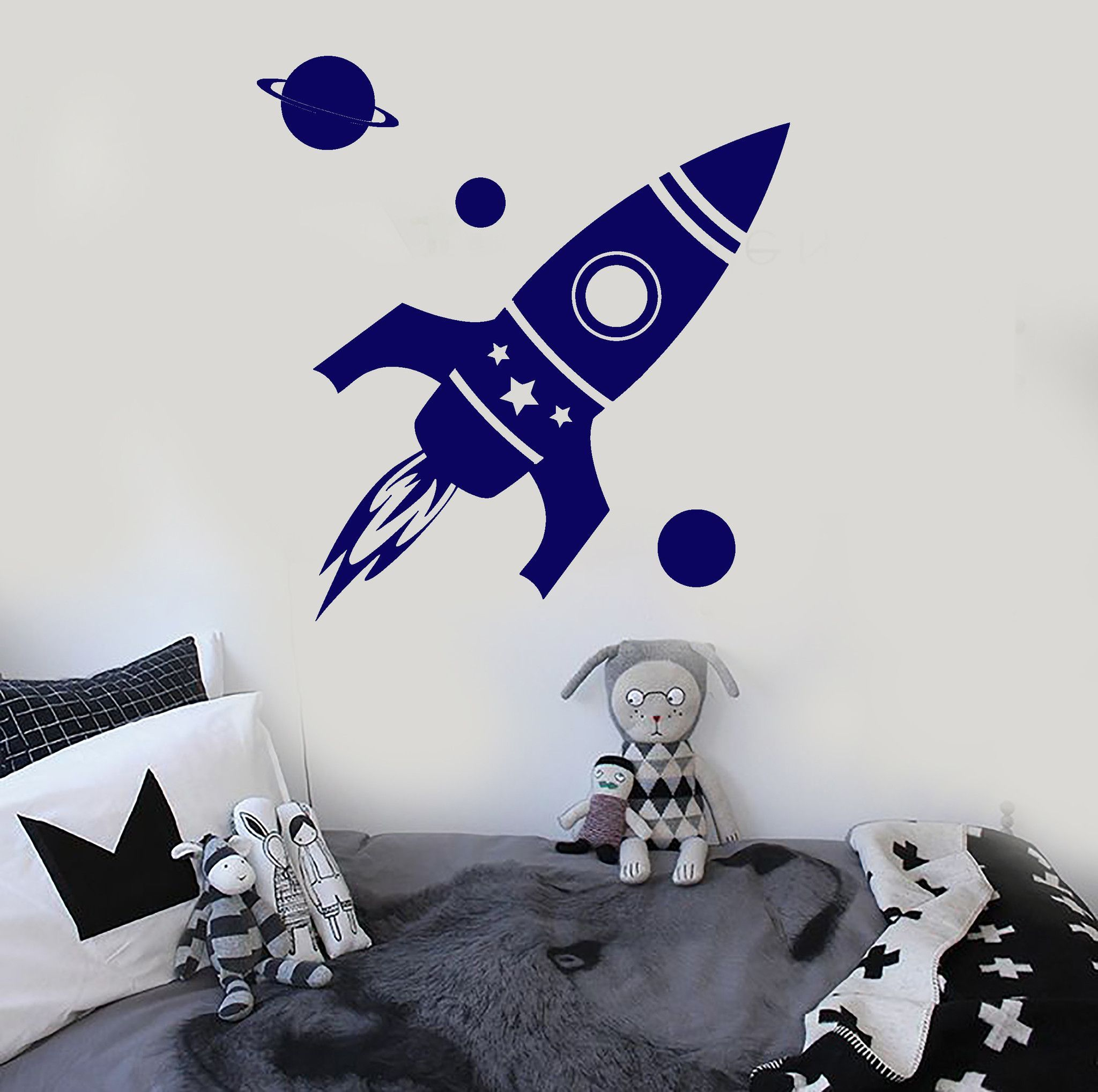 vinyl wall decal rocket space planet kids room stickers on wall stickers for kids id=20979
