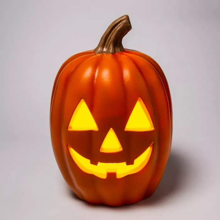 "20"" Light Up Orange Pumpkin Halloween Decorative Prop"