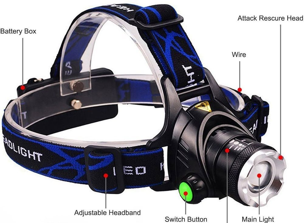 Led Waterproof Headlamp Headlight Cree Flashlight Torch Rechargeable Camping 3  #DLAND