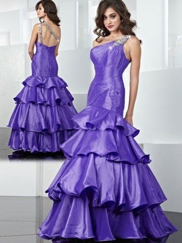 2012 Style Trumpet / Mermaid One Shoulder Beading  Sleeveless Ankle-length Taffeta Prom Dresses / Evening Dresses