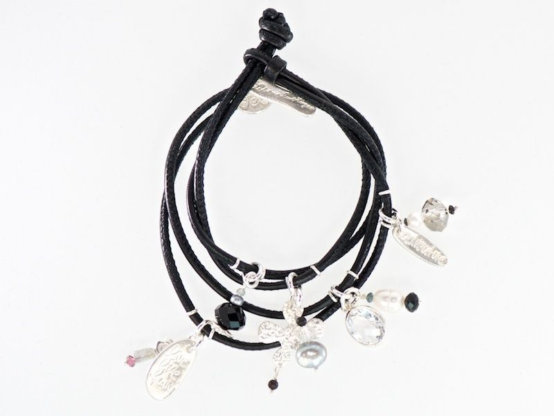 """Last day of the 20% off sale today  #black leather wrap #bracelet with silver charm """"live life fully"""" and a beautiful, large rock crystal for 111 Euro"""