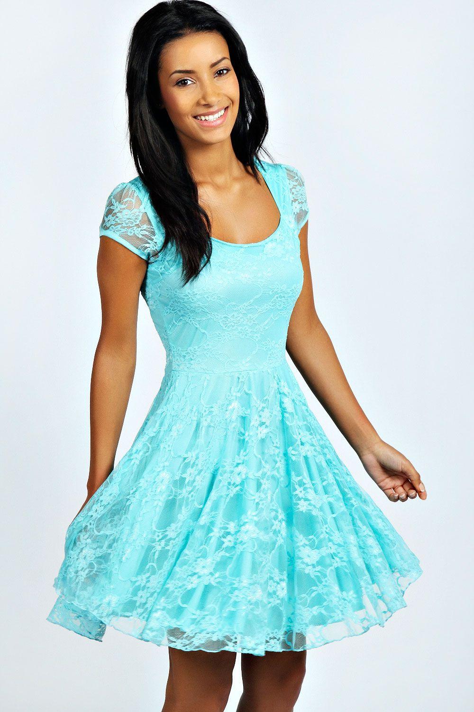 Caroline Cap Sleeve Lace Skater Dress | Boohoo, Cap and Latest dress