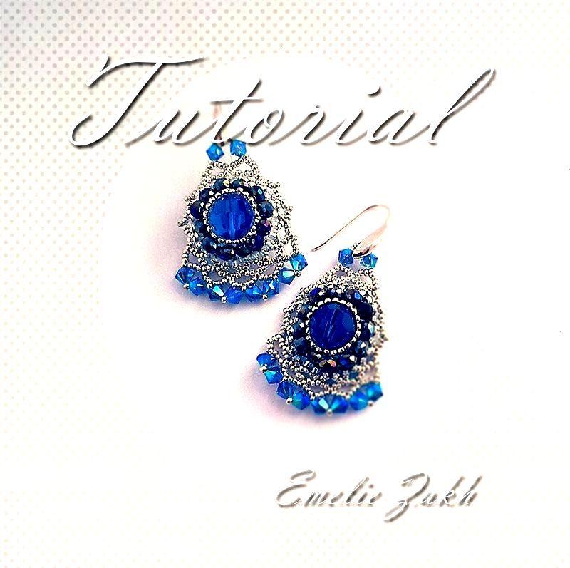 Beading tutorial earrings - beaded jewelry pattern - instructions making earrings - Beaded Blue Cry