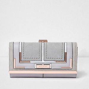 River Island Light grey snake print cutabout foldout purse   new with tags