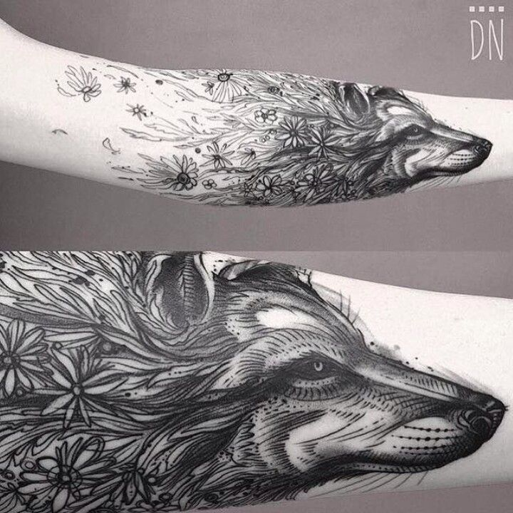 Wolf and flowers