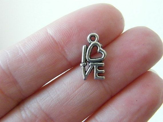 5b2f5aca9 BULK 50 LOVE charms antique silver tone M636 | Products | Love ...