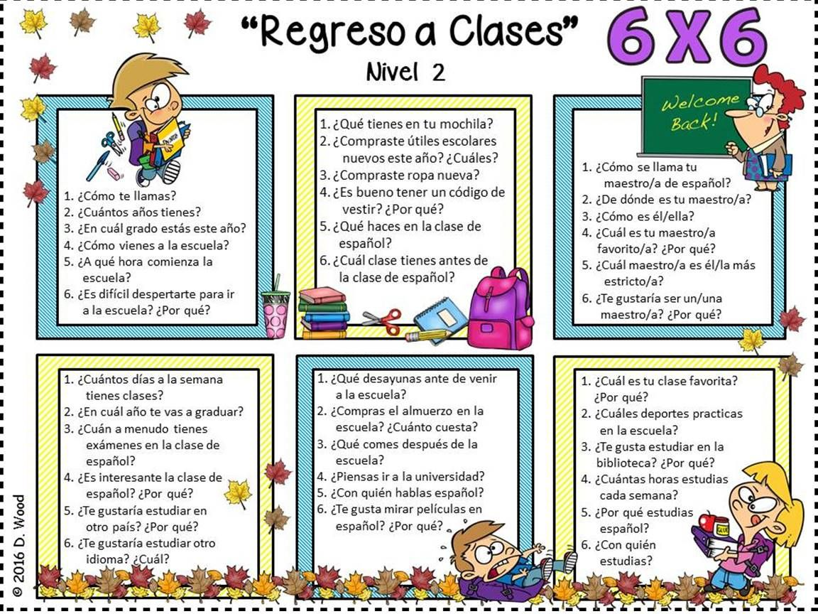 spanish back to school activities regreso a clases debbie wood spanish resources spanish. Black Bedroom Furniture Sets. Home Design Ideas