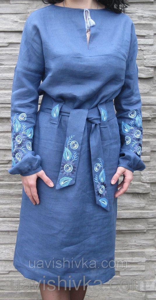 Сукня жіноча з 100% льону з оригінальною вишивкою квітами, фото 2
