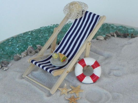 Miniature Deck Chair blue miniature beach by TheLittleHedgerow