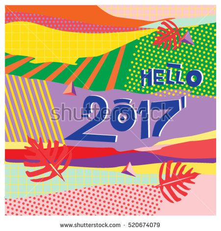 happy new year 2017 background calendar cover template colorful modern memphis style background hipster greeting card vector illustration