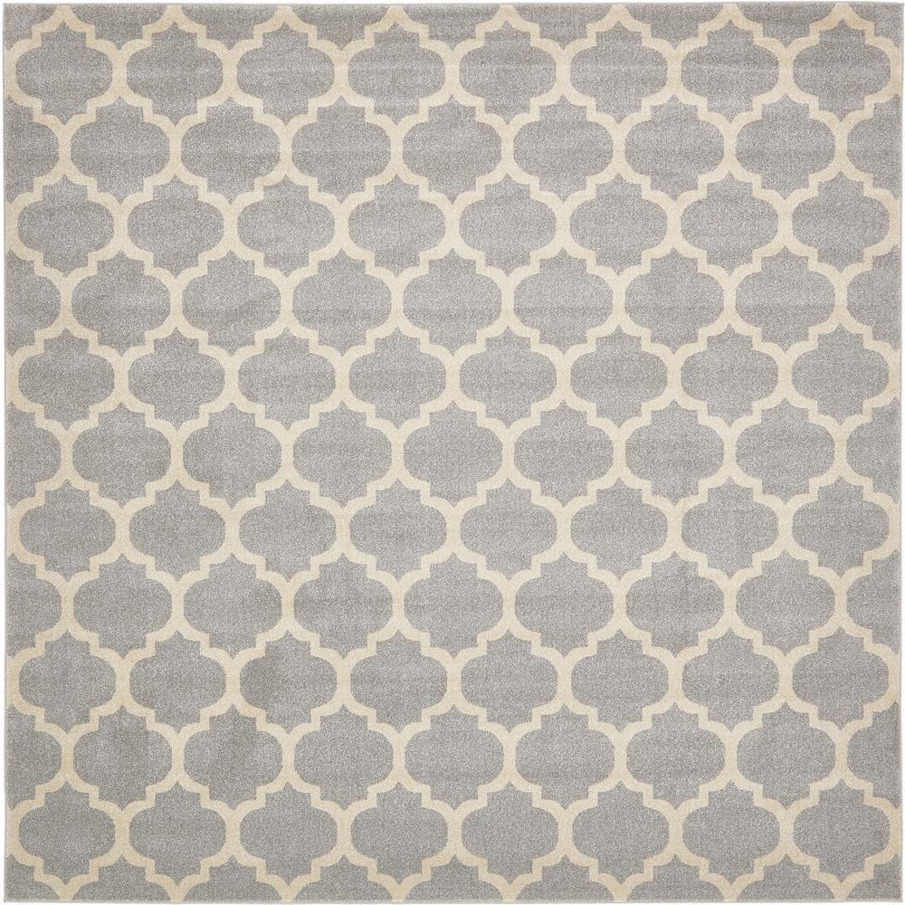 Unique Loom Trellis Philadelphia Light Gray Beige 10 0 X 10 0 Square Rug 3120659 The Home Depot Geometric Area Rug Square Area Rugs Square Rugs