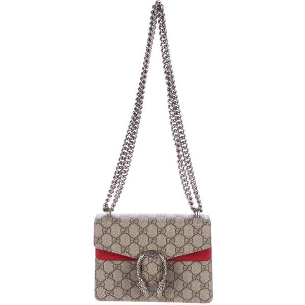 2b3787d44b79f5 Pre-owned Gucci GG Supreme Dionysus Mini Bag ($1,425) ❤ liked on Polyvore  featuring bags, handbags, brown, gucci handbags, white handbag, preowned  handbags ...