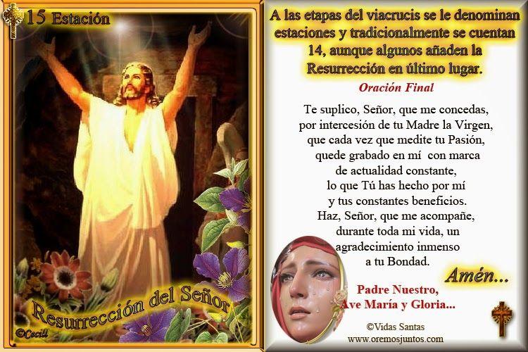 Vidas Santas: †Estampitas con Oración, Estaciones del Via Crucis † 15