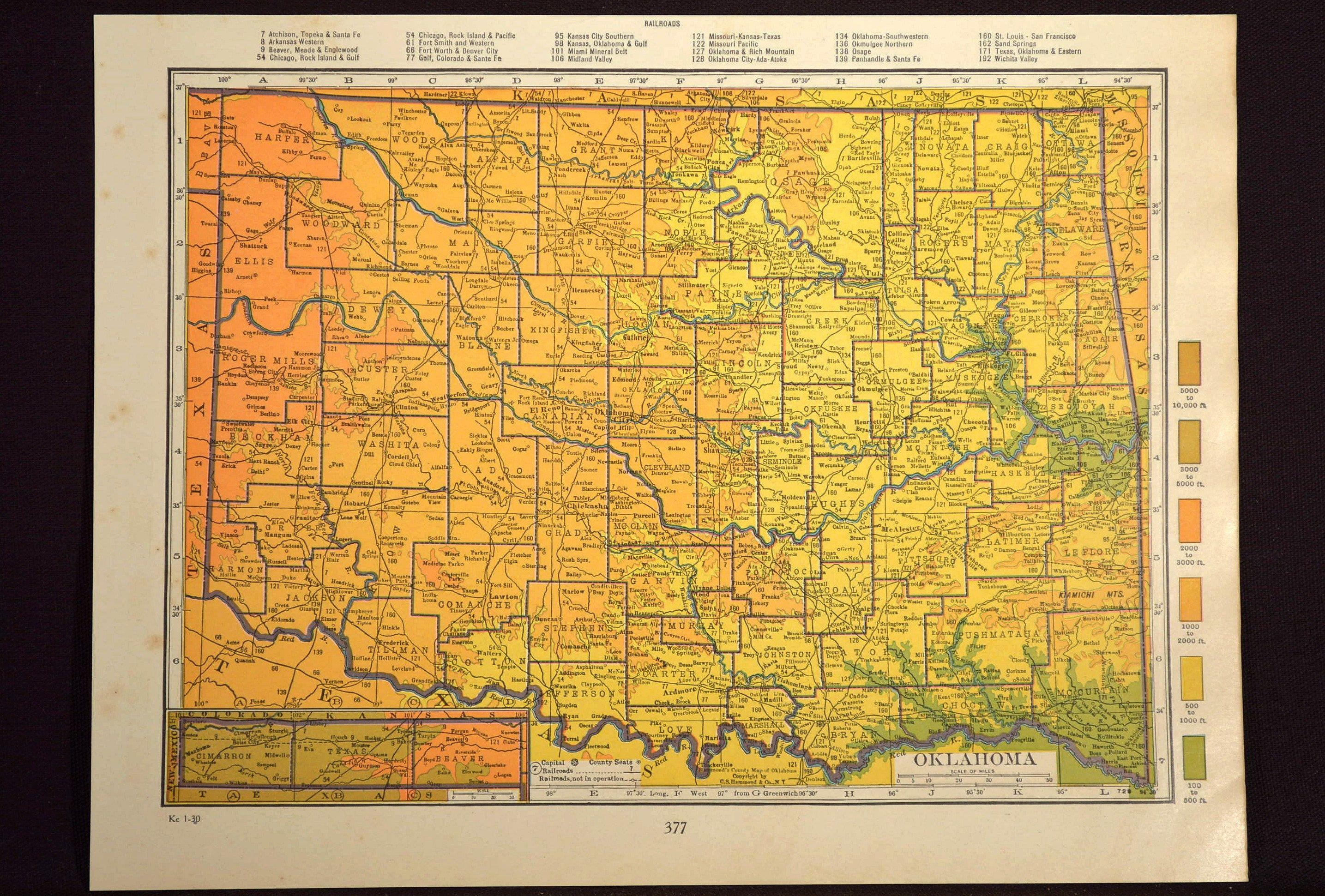 Oklahoma Map Oklahoma Topographic Map Colorful Colored Topo   Map ...