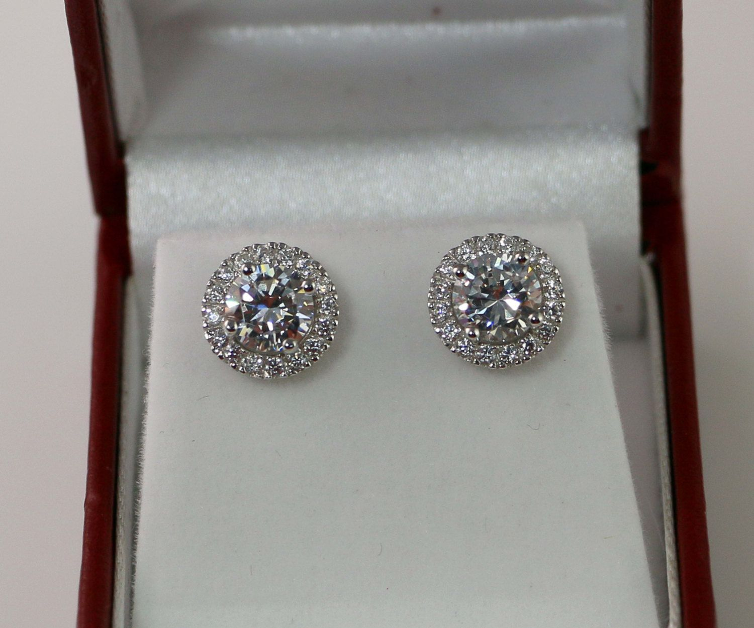 2 Carat Round Halo earrings, Sterling Silver, Halo Bridal studs, Bridemaid earrings, Wedding, Birthstone, CZ studs, cubic zirconia studs