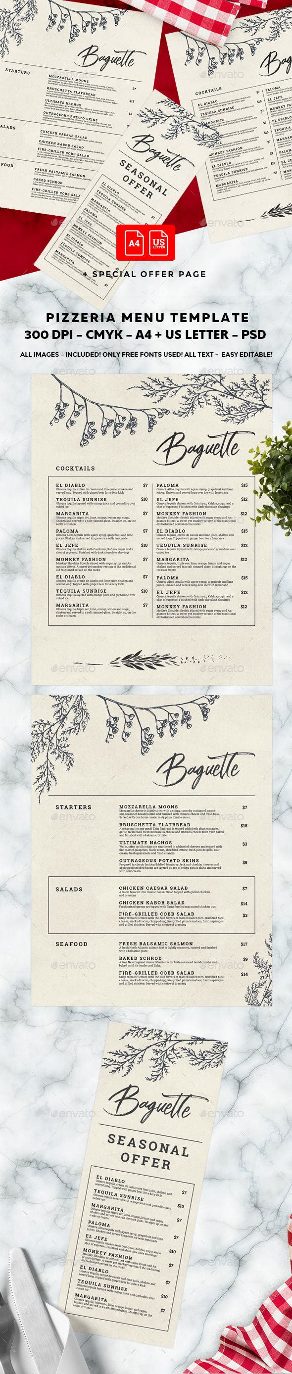elegant menu   restaurant menu template & design   pinterest   menu