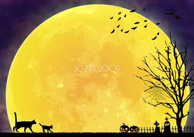 かっこいいハロウィンクロネコと満月の背景無料イラスト画像