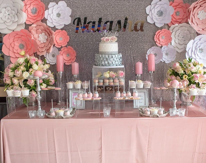 Pink and silver candy buffet with paper flower wall. 17th ...
