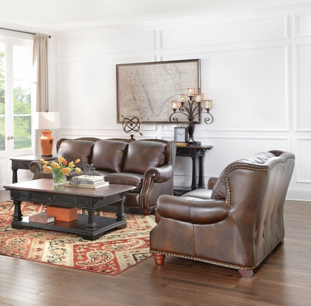 The rich shaded leather of the Winston Leather Sofa makes