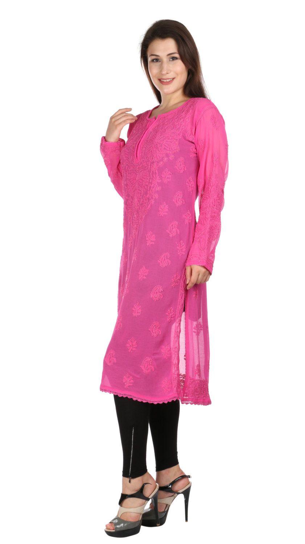 b1710534ee0 Sexy Pink Long tunic Indian Hand Embroidery Lucknow Chikankari beach  coverup  Kurtis Top Tunic kurta comfortable summer women ladies girls by  Indiankala4u ...