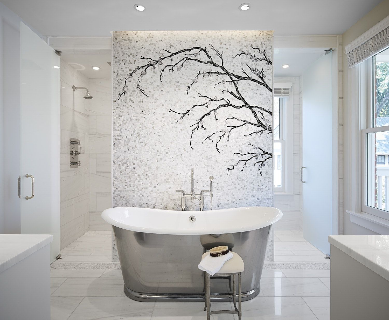Master Bathroom Renovation Mosaic Tile Backdrop Highlight The Waterworks Tub By R Bathroom Inspiration Modern Bathroom Redecorating Master Bathroom Renovation