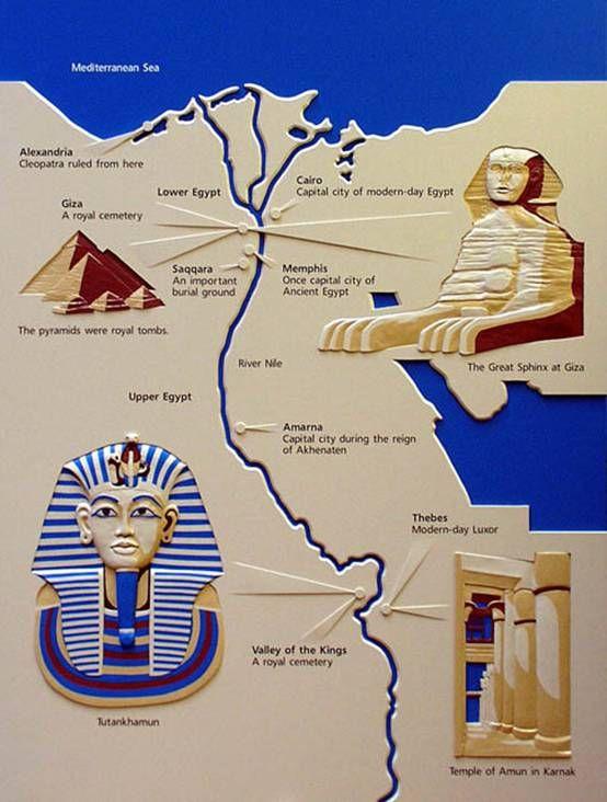 Map Of Ancient Egypt Egypt مصر Pinterest Ancient Egypt - Map of egypt ancient