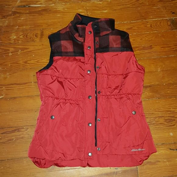 Vest Red vest, plaid on top, buttons and zips, never been warn, still has tags Eddie Bauer Jackets & Coats Vests